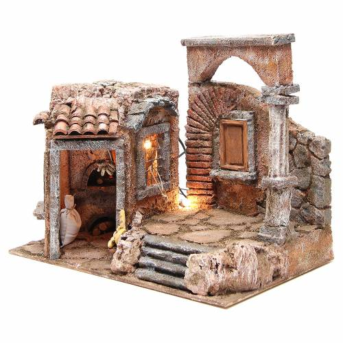 House with roman column and hut for nativity 35x35x25cm s2