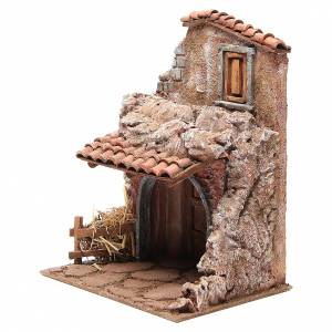 House with stable for nativity 30x24x18cm s2
