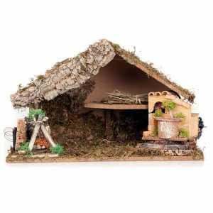 Krippe Hütten und Grotten: Huette fuer Krippe mit elektrischen Brunnen und Bachofen Led 43x