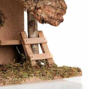 Krippe Hütten und Grotten: Huette Krippe Holz Kork und Treppe 24x16x21
