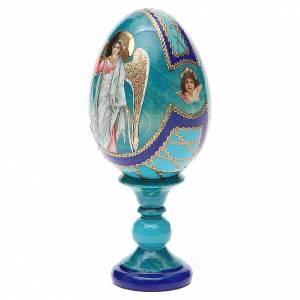 Huevos rusos pintados: Huevo ruso de madera découpage Ángel de la Guarda estilo Fabergé altura total 13 cm