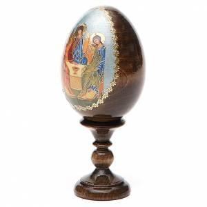Huevos rusos pintados: Huevo ruso de madera découpage Trinidad Rublev altura total 13 cm