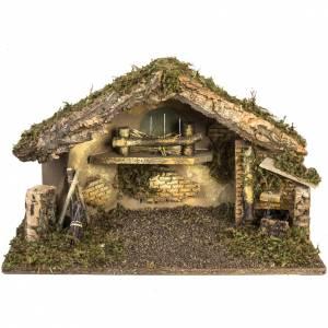Krippe Hütten und Grotten: Hütte mit Feuer und Brunnen für Krippe 30x50x24cm