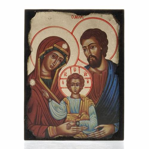 Icon print on wood, Holy Family s1