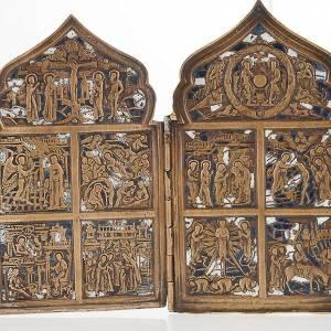 Icona antica quadripartita da viaggio bronzo XIX secolo s2