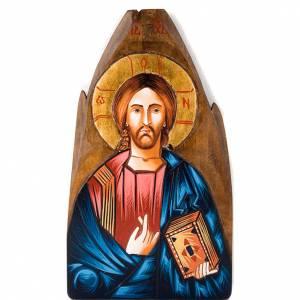 Icone Romania dipinte: Icona Cristo Pantocratore rumena dipinta a mano