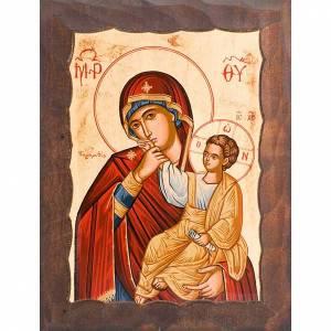 Icone Grecia dipinte e serigrafate: Icona Madre di Dio gioia e sollievo manto rosso1