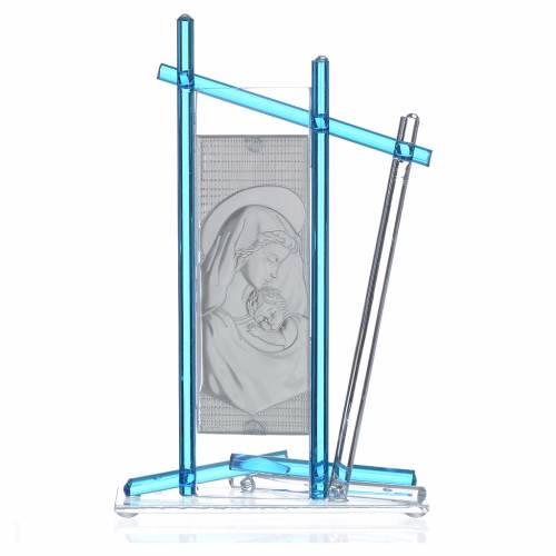 Icona Nascita vetro Murano Celeste 24x15 cm s2