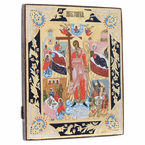 Icona russa Angelo Custode dipinta su tavola antica s3