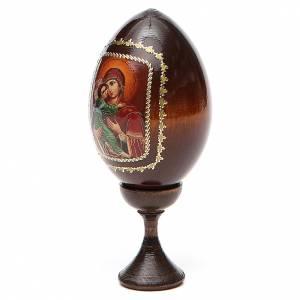Uova russe dipinte: Icona Maria con Bimbo fondo rosso
