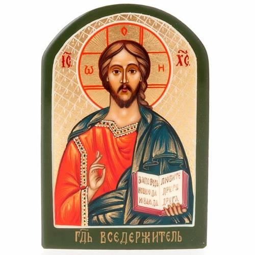 Icona russa Pantocratore 6x9 cm manto blu oro 1
