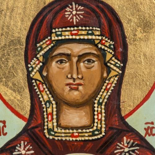 Icona russa dipinta Madonna del Segno 18x12 cm s2