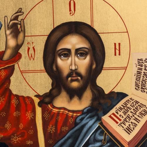 Icona russa dipinta Pantocratore benedicente s2