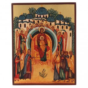 Icone Russia dipinte: Icona russa  In Te esulta tutta la Creazione 14x10 cm