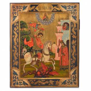 Icona russa San Giorgio dipinta su tavola antica s1