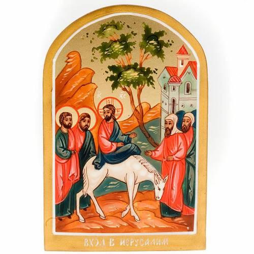 Icona sacra entrata Gesù Gerusalemme 6x9 Russia s1