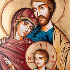 Icona Sacra Famiglia fondo oro 45x120 cm s3