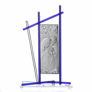 Icona Sacra Famiglia vetro Murano Blu 24x15 cm s1