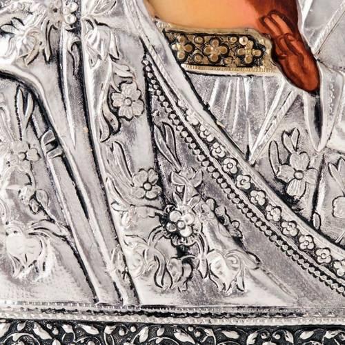 Icona Vergine di Kazan riza argentata dorata 6