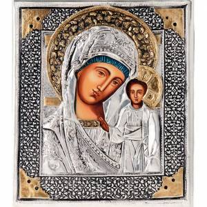 Icona Vergine di Kazan riza argentata dorata s1
