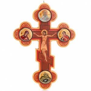 Icône croix trois lobes russe, bois s1