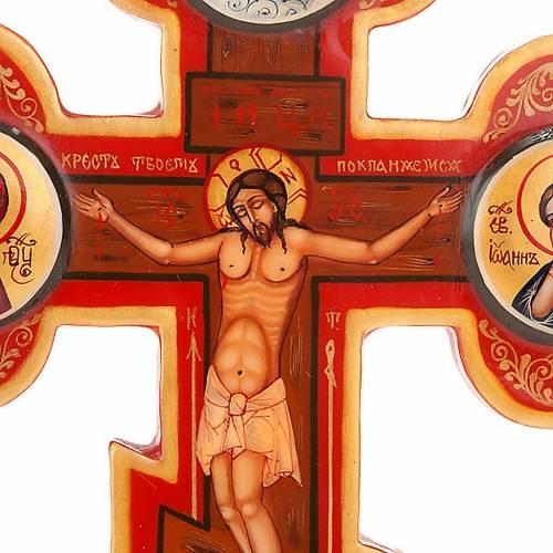Icône croix trois lobes russe, bois 3