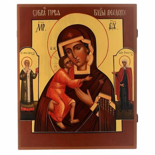 Icône peinte russe Vierge de Vladimir 36x30 cm s1