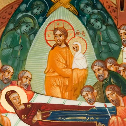 Icône russe,6x9 Vierge qui dort, peinte à la main s3