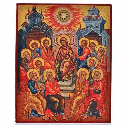 Icône russe peinte Pentecôte 14x11 cm s1