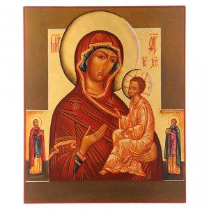 Icônes Russes peintes: Icône russe Vierge de Tikhvin avec deux Saints 36x30 cm