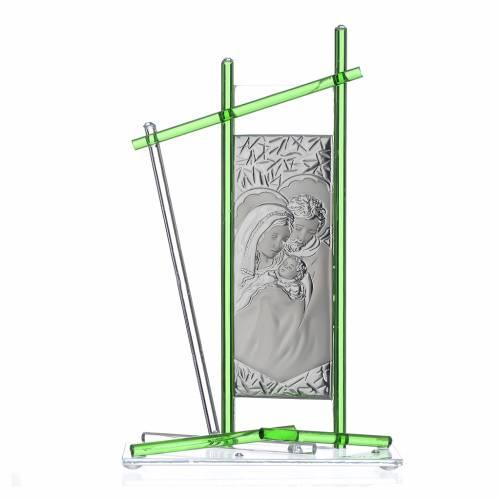 Icono Sagrada Familia Vidrio Murano verde 24x15 cm s1