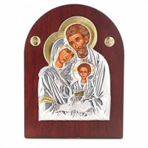 Ikonen aus Gold und Silber mit Riza: Ikone Heilige Familie bogenförmig Siebdruck Silber