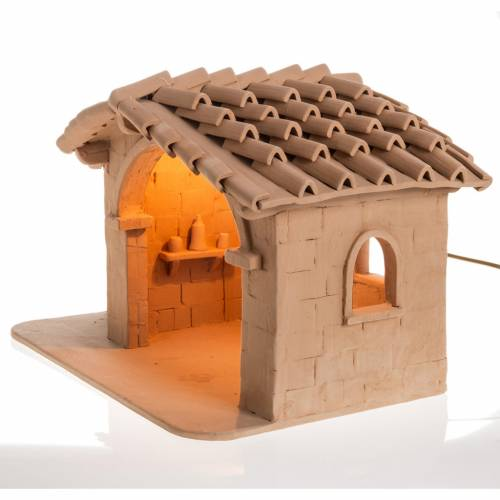Illuminated crib Nativity scene terracotta Deruta s3