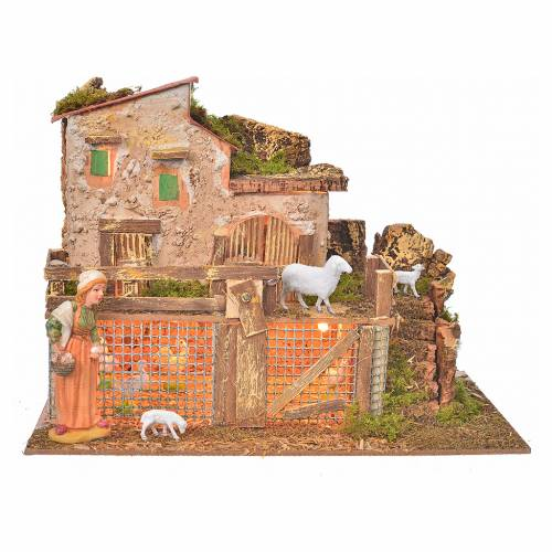 Illuminated nativity setting with hens and sheep 10cm s1