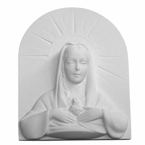 Immaculate Heart of Mary bas-relief in reconstituted marble s1