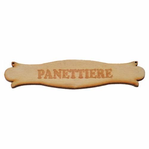 Insegna presepe Panettiere 8,5 cm in legno s1