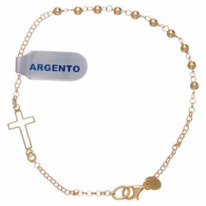 Gold and silver bracelets: Interlock cross bracelet with one decade, gold plated silver