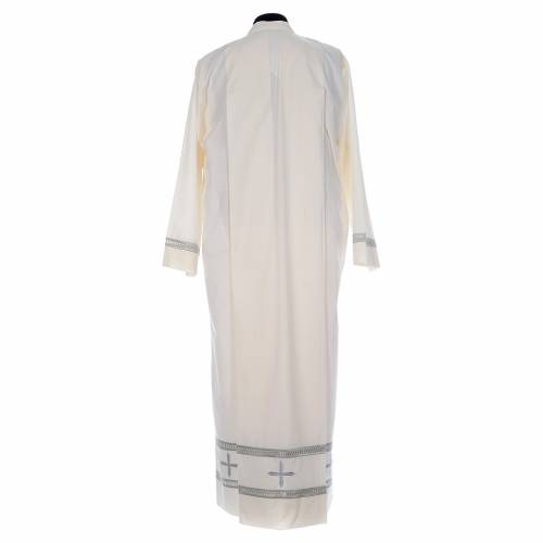 Ivory alb cotton polyester, gigliuccio hemstitch and false hood s3
