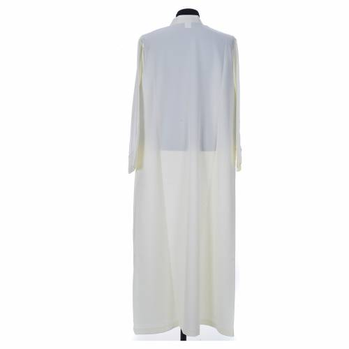 Ivory alb in 100% polyester, simple with zipper on front s2