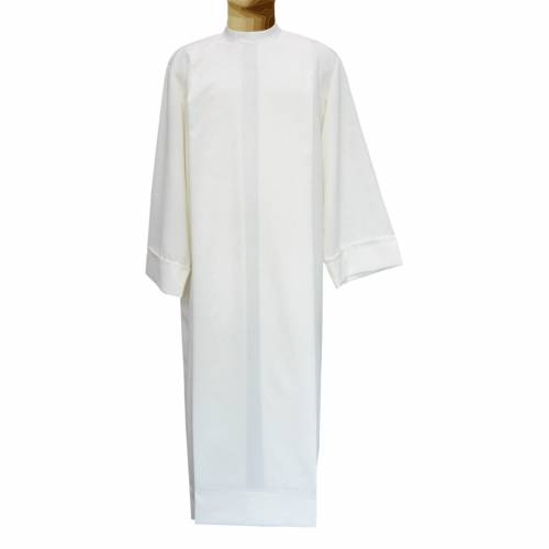 Ivory alb in polyester and wool with 2 pleats s1