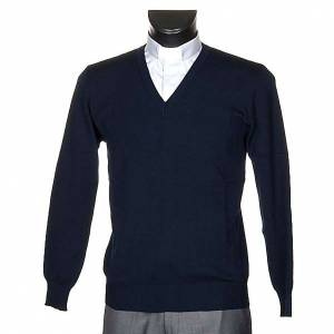 Cárdigan: Jersey con cuello V azul