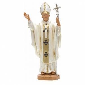Statuen aus Harz und PVC: Johannes Paul II weiße Kleidung 18cm, Fontanini