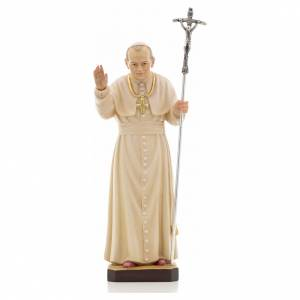 Hand painted wooden statues: John Paul II wooden statue painted