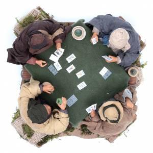 Joueurs de cartes 4 personnages 24 cm mouvement crèche napolitaine s3