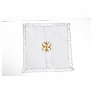 Altargarnitur: Kelchwäsche 4-teilig Kreuz vergoldet