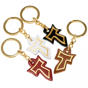 Key Rings: Keyring in leather with golden Tau