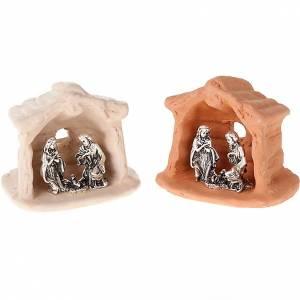 Krippe aus Terrakotta: Kleine Krippe aus Terrakotta und Metall 6cm