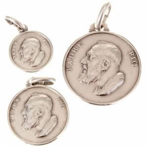 Anhänger, Kreuze, Broschen: Kleine Medaille Padre Pio Silber 925