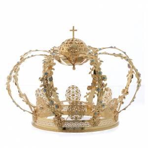 Aureole i korony do figur: Korona do Madonny mosiądz pozłacany strass błękitny biały