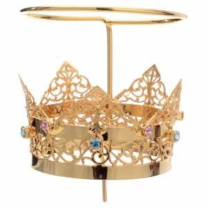 Aureole i korony do figur: Korona z aureolą mosiądz i strass 6 cm